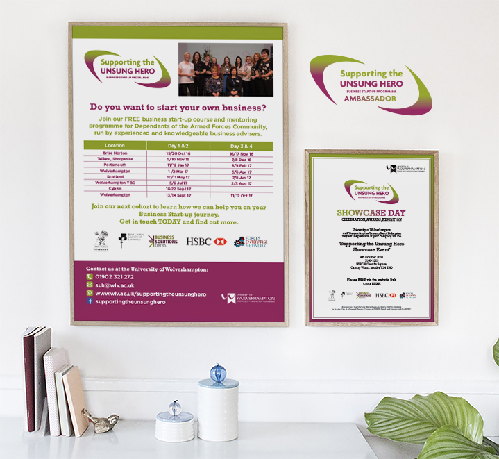Supporting the Unsung Hero Business Course dates, poster and invite