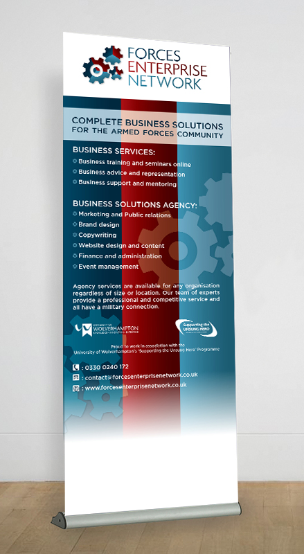 Roller banner for FEN, red and blue business banner