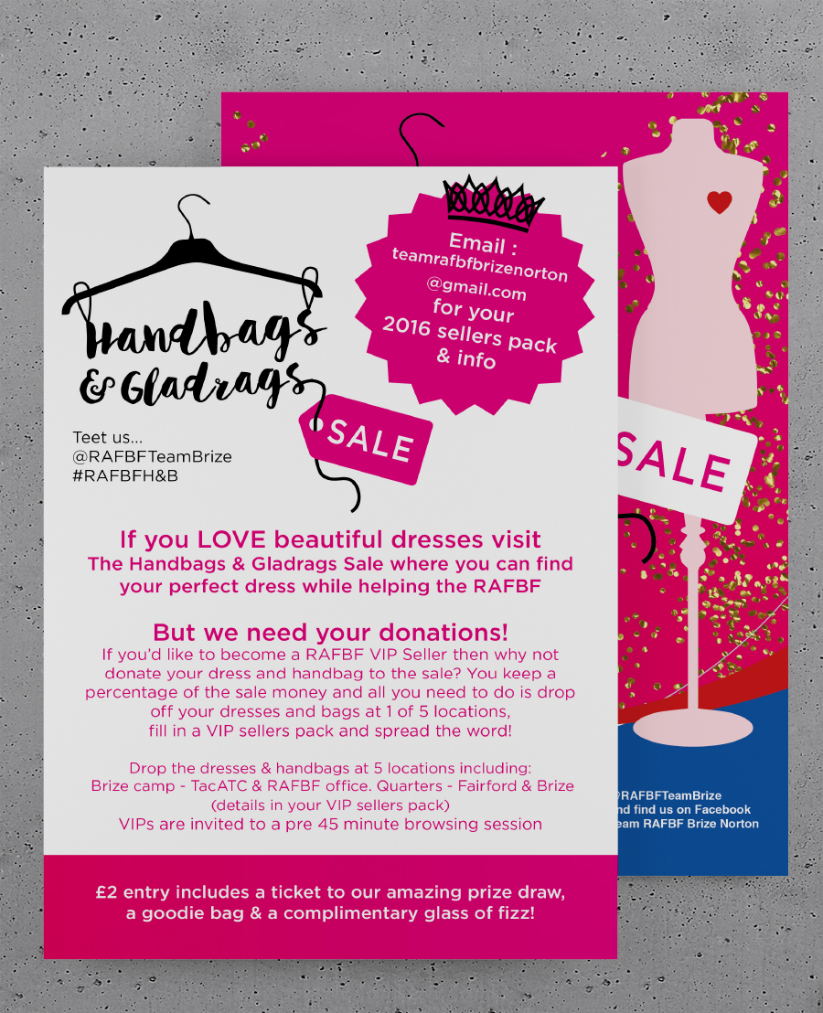 Flyer for Handbags and gladrags sale
