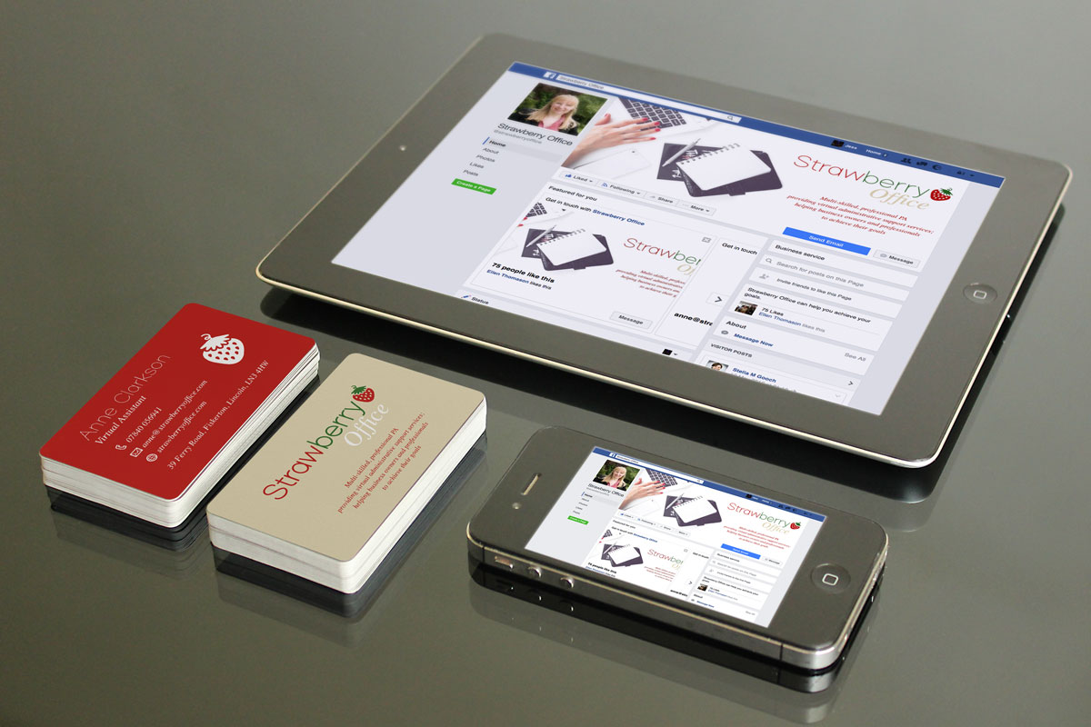Strawberry Office Business Cards and Facebook profile